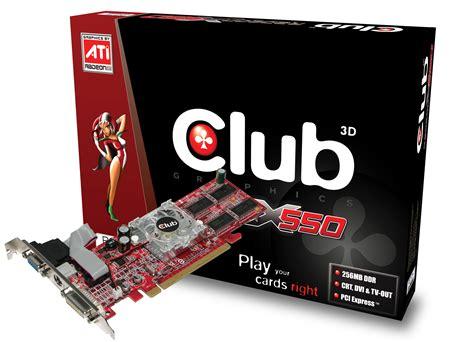 Dart Club Card Type D 10 product data club3d ati radeon x550 256mb gddr graphics cards cgax x56tvd