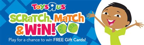 Scratch And Win Gift Cards - toys r us scratch match and win game win 10 20 or 500 toys r us gift cards