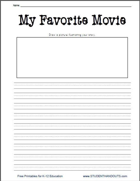 printable handwriting worksheets for grade 3 k 2 my favorite movie free printable writing prompt
