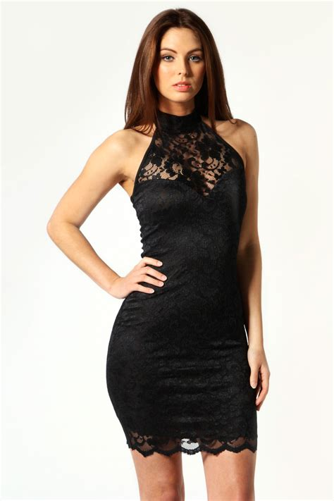Ellisa Dress elisa sweetheart halterneck lace dress black black