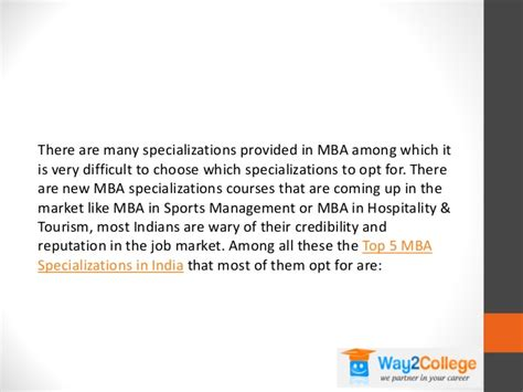 Mba Specializations List In India by Top 5 Mba Specializations In India