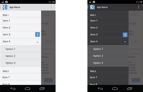xamarin transparent layout navigation drawer patterns google design guidelines