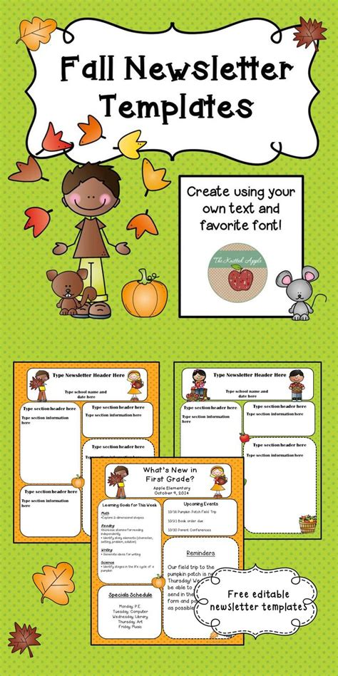 free fall themed newsletter templates school age