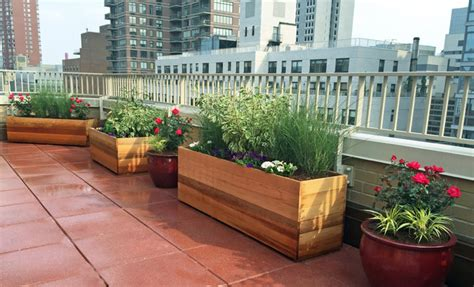 upper west side rooftop terrace with custom planter boxes and bench contemporary deck new
