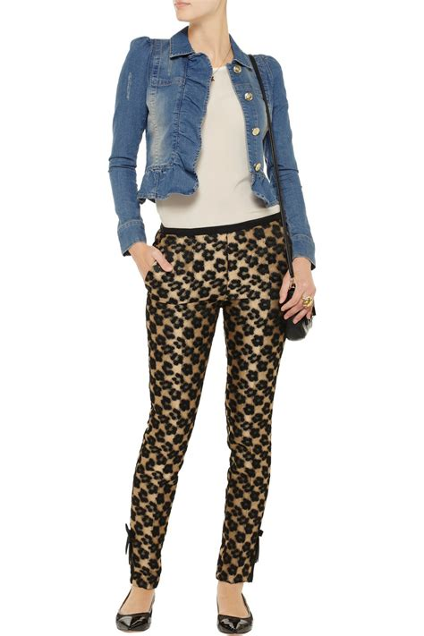 Valentino Gold Button Detail Jacket Review by Lyst Valentino Ruffled Stretch Denim Cropped Jacket