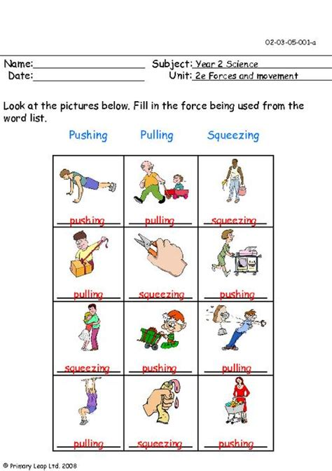 Push And Pull Worksheets For Kindergarten by All Worksheets 187 Push And Pull Worksheets Printable