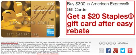 Liquidate Amex Gift Card 2015 - staples easy rebate purchase 300 in american express gift cards receive 20 staples