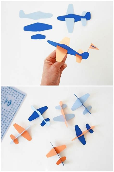 Paper Airplane Craft - diy paper plane with free template