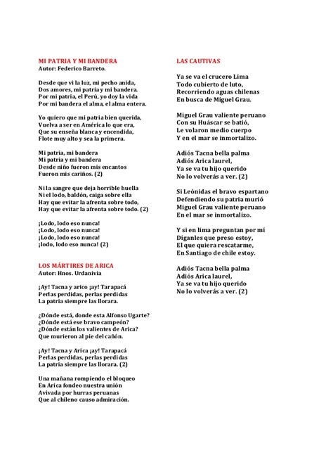 letra de cancion banderita banderita peru cancionero patri 243 tico peruano c 237 vico militar del peru