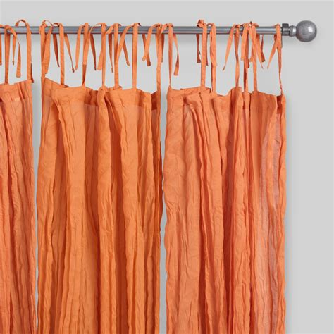 sheer curtains orange orange crinkle sheer voile cotton curtains set of 2
