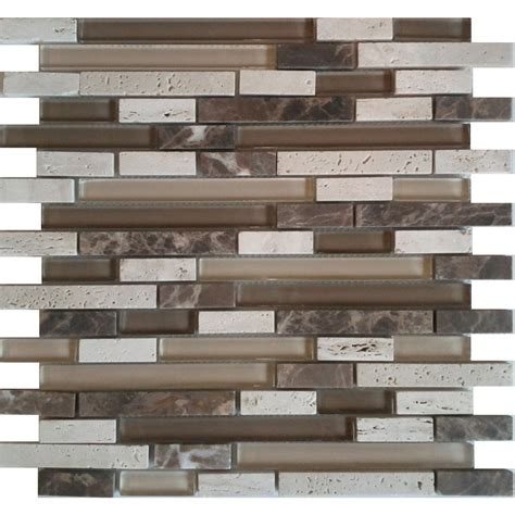 glass backsplash tile lowes avenzo 12 in x 12 in avenzo mosaic beige mixed material