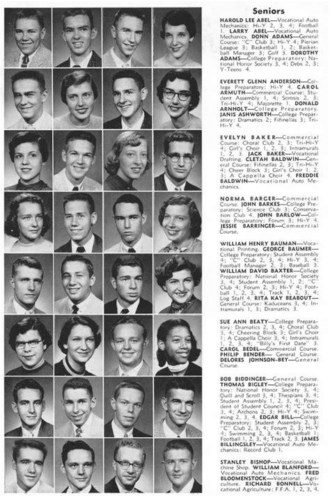 yearbook photos for free columbus high school chs 1956 yearbook log seniors columbus indiana