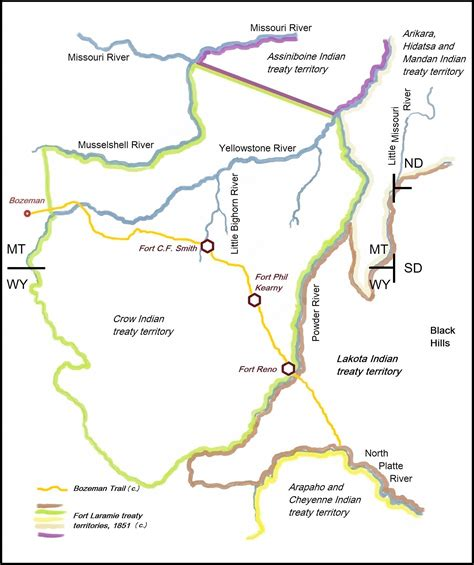 bozeman trail map file bozeman trail the forts and the indian territories