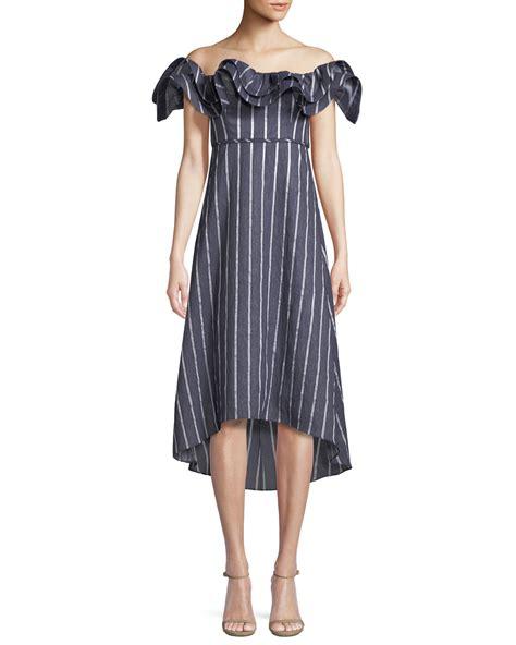 Striped Shoulder A Line Dress prose poetry mirabelle ruffled the shoulder striped