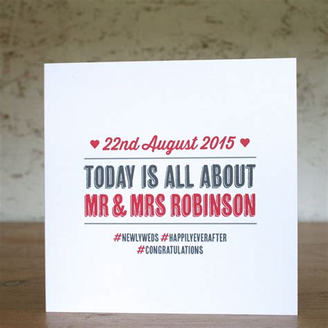 Wedding Hashtag Cards by Special Day Personalised Wedding Card By The Design