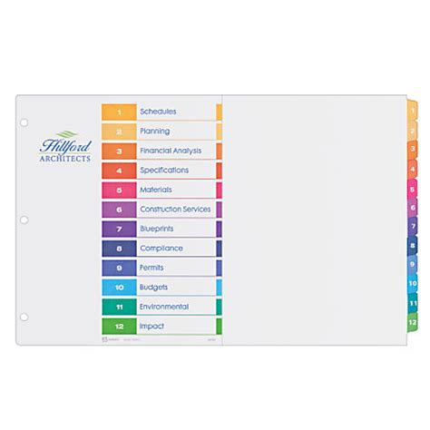 avery ready index table of contents dividers 11 x 17