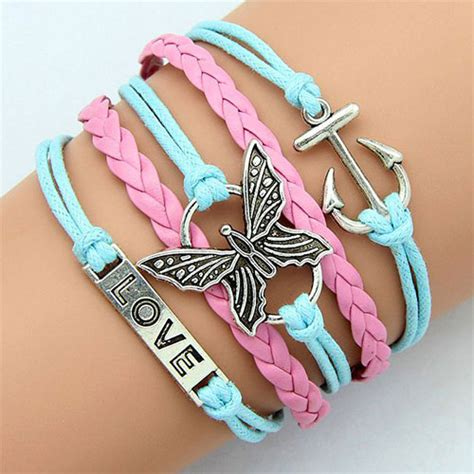 A Gelang Korea Monochrome Anchor Butterfly Pink butterfly anchor braided multi strand string charm bracelet grxjy5120187 on luulla