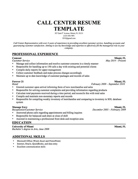 resume format sle for call center without experience sle of call center resume resume ideas