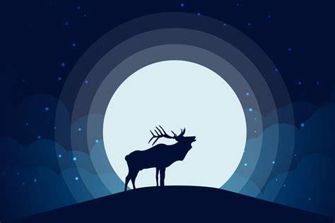 tutorial vector logo illustrator animal silhouette moonlight vector illustration