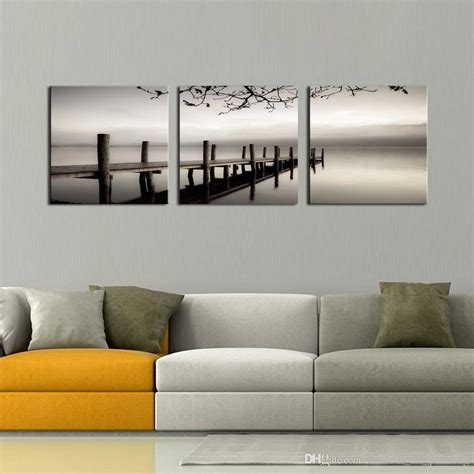 black and white paintings for bedroom wholesale 3 panels black and white landscape giclee canvas