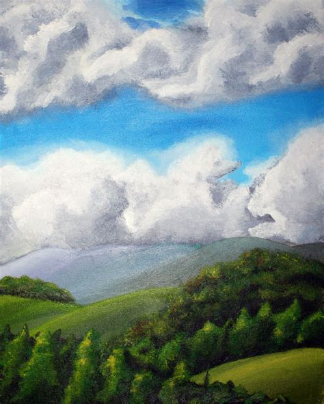 acrylic painting landscapes acrylic landscape painting by ablueslimedrawsnear on
