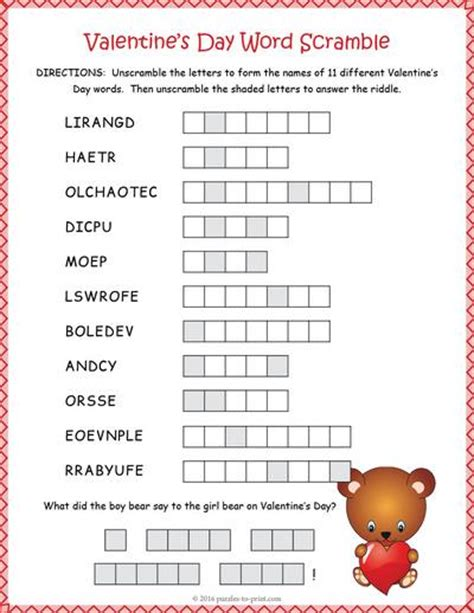 words for valentines day valentines day word scramble