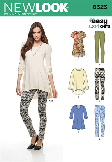 pattern review best patterns 2014 new look 6323 misses knit leggings and pullover tunics