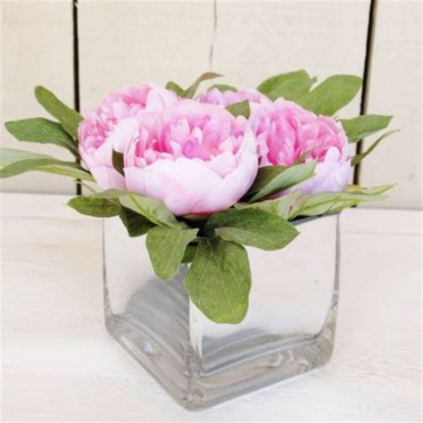 How To Arrange Peonies In A Vase by Artificial Flowers Pink Peony Mirrored Cube Vase