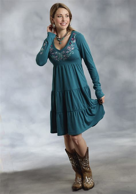 roper 174 teal floral embroidered 3 tiered skirt western