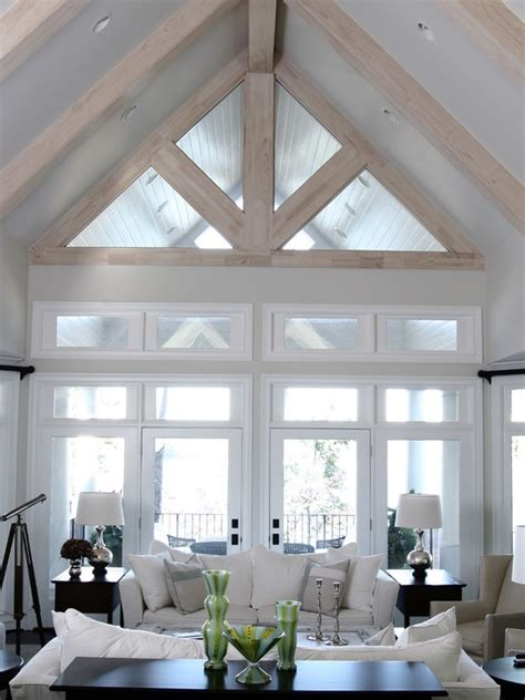 Living Rooms With Vaulted Ceilings White Living Room With Vaulted Ceiling Comfy And Cozy Living Pint