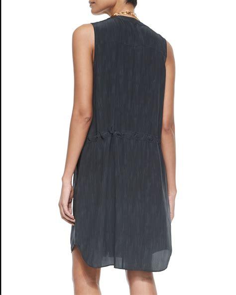 Gray Sleeveless Two Dress lyst eileen fisher sleeveless two way zip silk dress in gray
