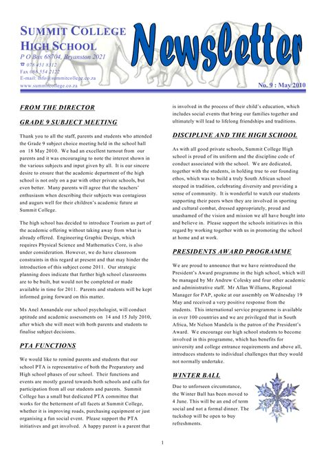 7 Best Images Of School Newsletter Templates School Newsletter Exles Free School Flyers School Newsletter Templates