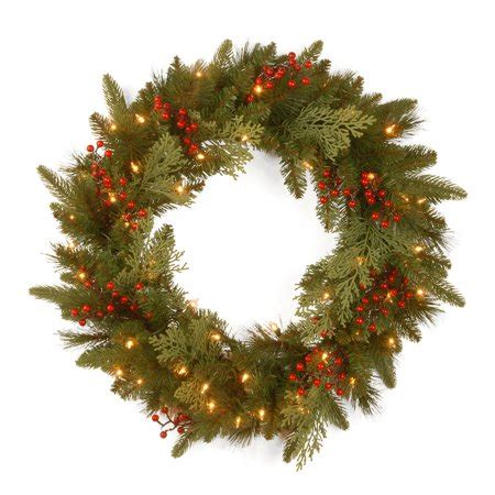 wal mart battery operated wreaths with timer 24 quot classical collection wreath with battery operated warm white led lights walmart