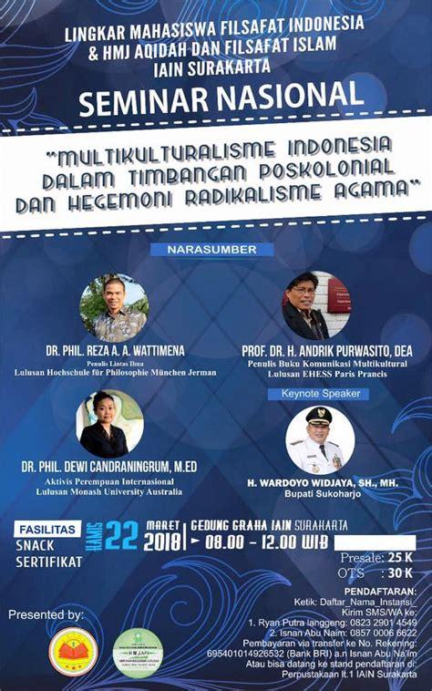 Demokrasi Dasar Filosofis Tantangannya Kanisius seminar nasional multikulturalisme indonesia dalam