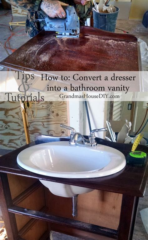 how to convert a dresser into a bathroom vanity