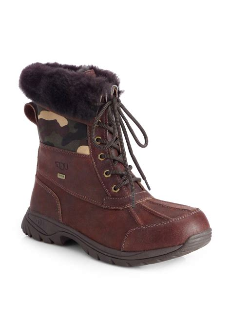 ugg waterproof boots ugg butte camo waterproof boots in brown for lyst