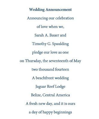 Wedding Announcement Wording For Couples by Wedding Announcements Announcing Marriage Free Wording