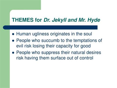 themes of jekyll and hyde ppt robert louis stevenson powerpoint presentation id