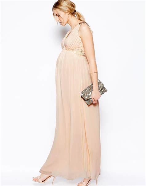 la longue monte de robe de grossesse mouseline pour mariage beige longue la robe longue
