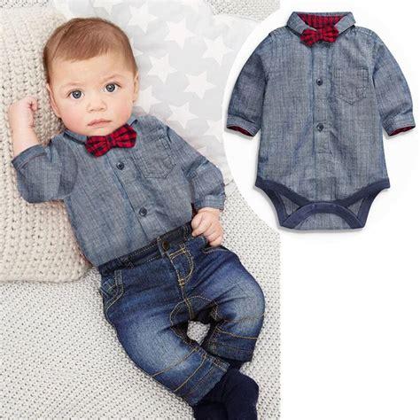 Boyset Minijeans aliexpress buy baby boys clothes bow tie romper jean 2pcs set for boys clothing