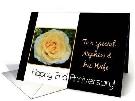 Wedding Anniversary Cards For Nephew by 2nd Wedding Anniversary Card For Nephew Yellow