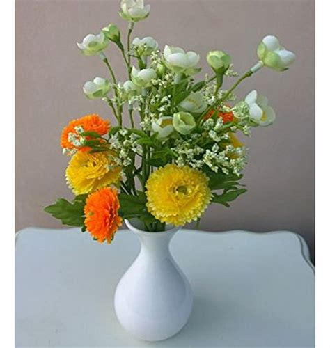 Orange Artificial Flowers In Vase by Flower In Vase