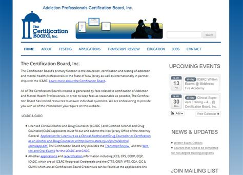 web design certificate nj addiction professionals certification board of new jersey