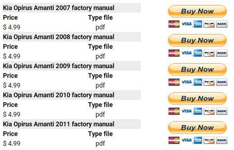 free auto repair manuals 2007 kia amanti parking system kia opirus amanti 2007 2011 repair manual factory manual