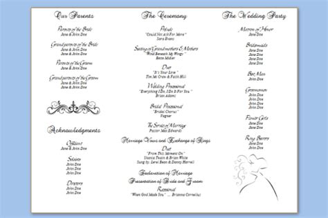 three column wedding program template wedding programs