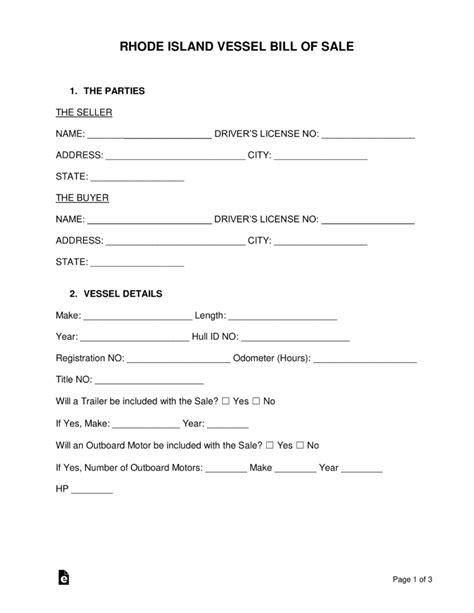 Free Rhode Island Vessel Bill Of Sale Form Word Pdf Eforms Free Fillable Forms Bill Of Sale Template Ri