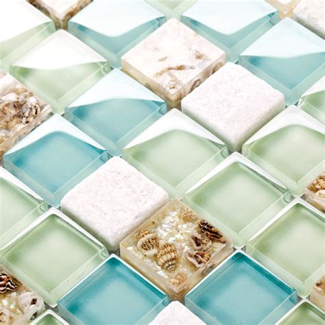 blue color glass mixed sea shell mosaic hmgm1148