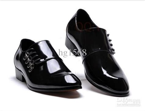 Lowest price men's black shine wedding shoes prom shoes