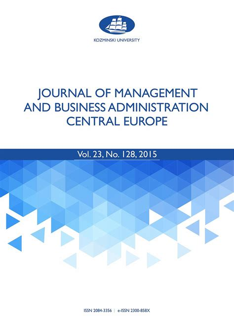 Central European Mba Requirements by Journal Of Management And Business Administration Central