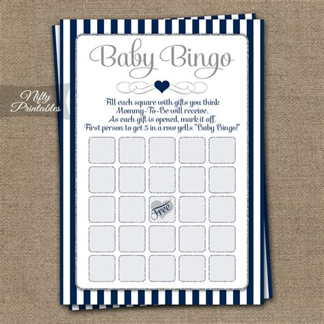 Navy Baby Shower by Printable Baby Shower Bingo Navy Blue Silver